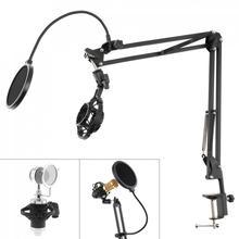 Multifunctionele Schokbestendig Microfoon Houder Beugel Met Double Layer Microfoon Pop Filter En Tafel Clip Voor Live uitzending