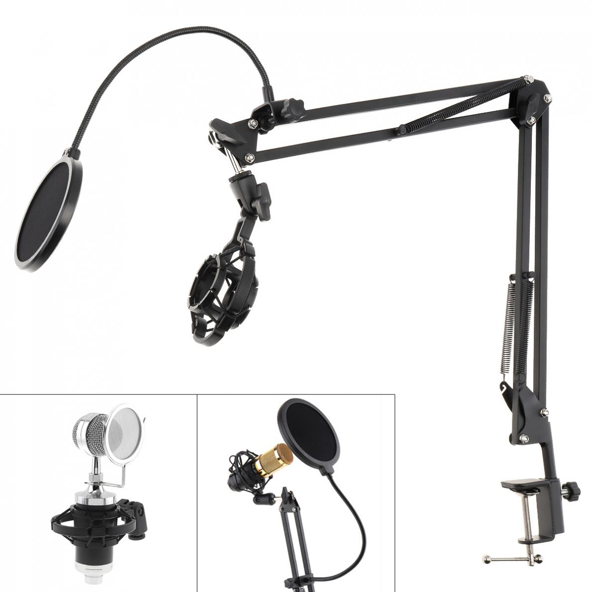 Suporte de Microfone à Prova de Choque com Dupla Filtro e Mesa Clipe para Transmissão ao Vivo Multifunções Camada Microfone Pop