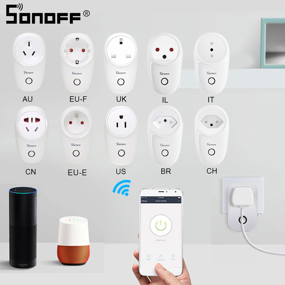 SONOFF S26 Mini Smart Socket Wifi Plug EU-E/EU-F/UK/AU/US/BR/IT/IL/CH/CN Brazil Israel Wireless Remote Control Google Home Alexa