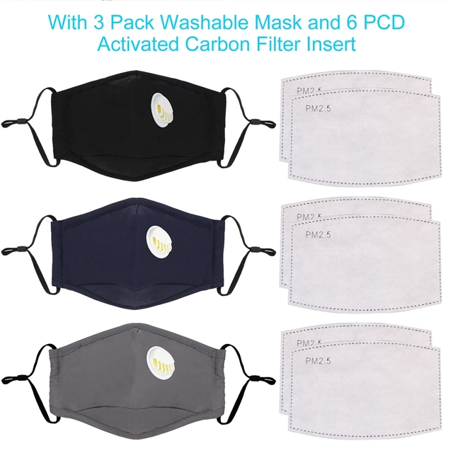 3pcs Cotton PM2.5 Anti Haze Mask Breath Valve Anti-Dust Mouth Mask Activated Carbon Filter Respirator Mouth-Muffle Mask Face 3