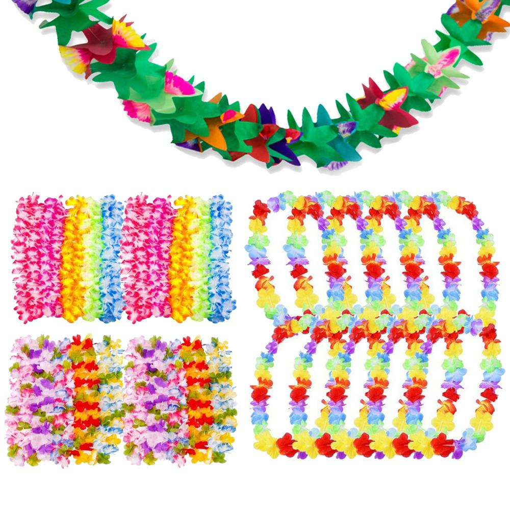 FENGRISE 10pcs Hawaiian Flower Necklace Leis Artifical Garland Hawaii Decoration Party Favor Decorations