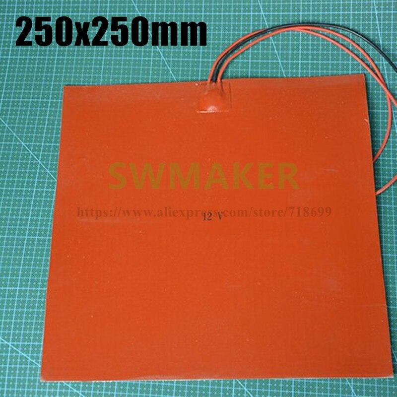 250x250 มม.12V/24V/110V/220V 3Dเครื่องพิมพ์ซิลิโคนเครื่องทำความร้อนยางซิลิโคนแผ่นความร้อน/Pad 250*250 มม.ฉนวนแผ่น