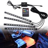 Auto Led Streifen Lichter 36/48/72 Umgebungs RGB Led-leuchten USB 12V Auto Dekorative Lampe APP Drahtlose Fernbedienung Modus