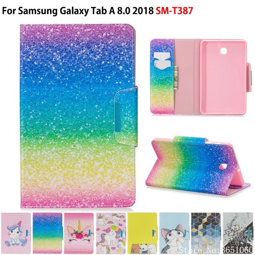 Case For Samsung Galaxy Tab A 8.0 2018 T387 SM-T387V SM-T387W Cover Funda Tablet Fashion Painted PU Leather Stand Shell Capa