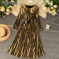 European 2019 Spring Autumn Women Midi Dress Vintage Round Neck Bright Black/Blue/Red/Silver/Golden Dress Vestidos For Female