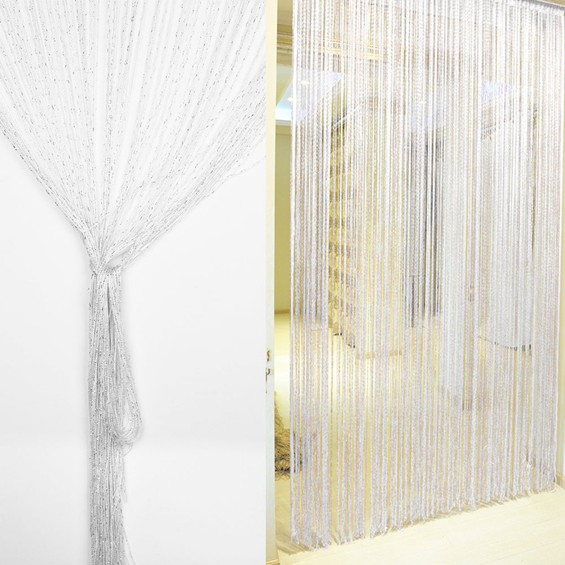 1Pcs Shiny Fringe String Curtain Tassel Flash Silver Line String Curtain Window Room Divider Fly Screen Door Hanging