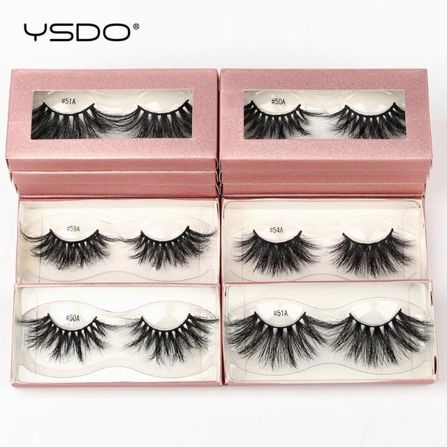 YSDO 25mm Eyelashes Wholesale 10/20/100 Pairs 25mm 3D Mink Lashes Makeup Long 5D Real Mink Eyelashes In Bulk Thick Fake Lashes 2