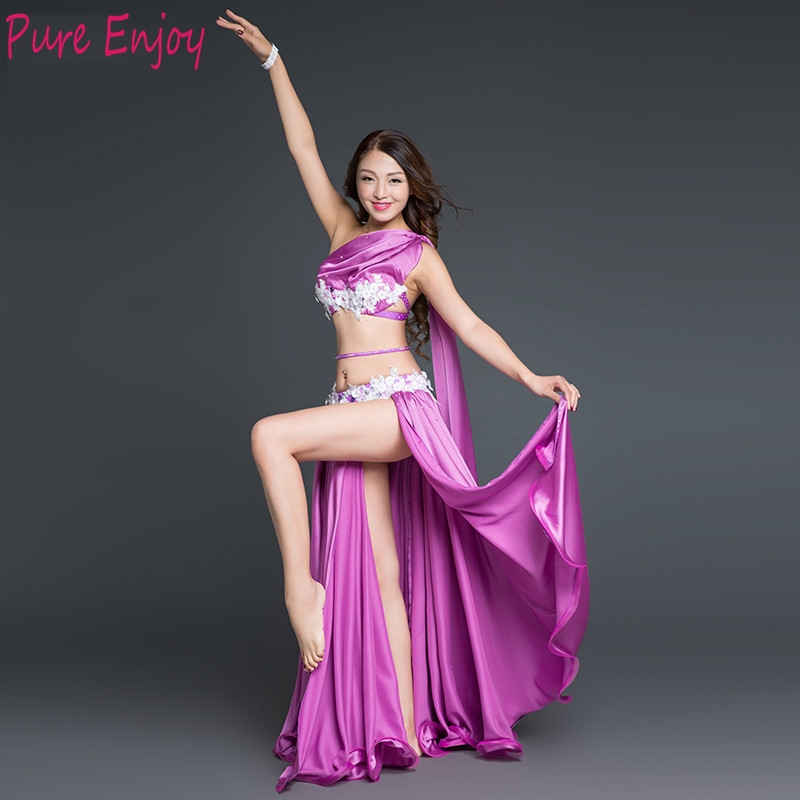 Belly Dance 3pcs Bra+Split Skirt+belt Bellydance Costumes Set Dancing Competition Suit Stage Performance Dancewear Team Uniform