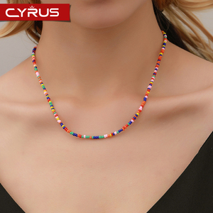 Fashion Ethnic Pure Handmade Necklace Colored Beads Short Beaded Necklace Summer Beach Clavicle Chain Boho Jewelry Mujer 2019(China)