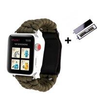 Correa y caja para apple watch, correa de reloj de 44mm, 40mm, 38mm y 42mm, correa de cuero con cierre, pulsera de reloj de supervivencia para iwatch series 6, 5, 4, 3