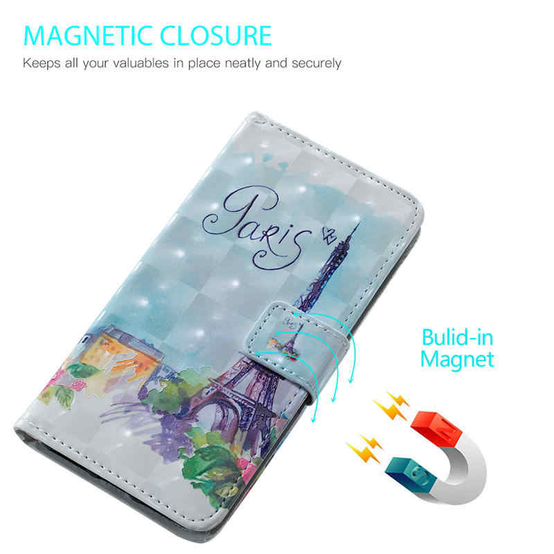 אופנה ארנק Flip טלפון מקרה Redmi הערה 5 6 פרו Etui עם כרטיס חריץ Coque Etui 3D הבלטה