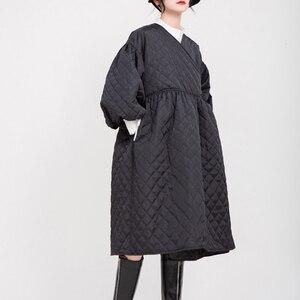 Image 4 - [EAM]  V collar Black Bandage Cotton padded Coat Lantern Sleeve Loose Fit Women Parkas Fashion Tide New Spring Autumn 2020 1D700