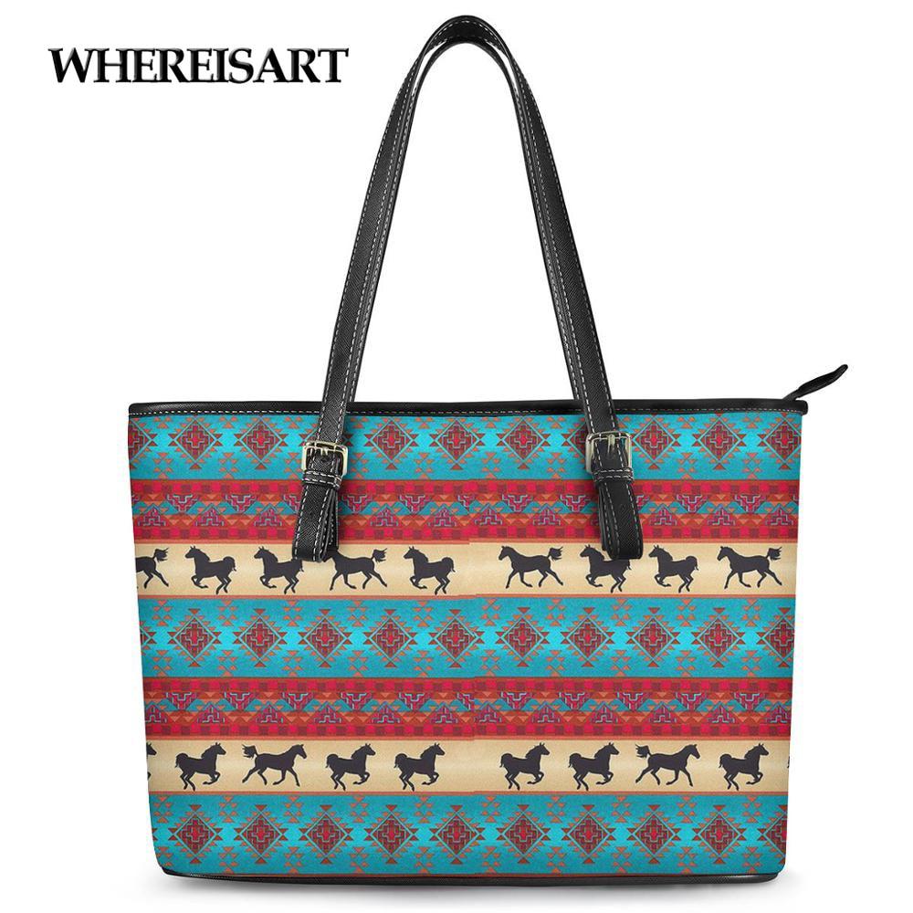 WHEREISART Women Bag Nation Style PU Leather Handbag for Ladies Luxury Retro Shoulder BagsLarge Capacity Tote Bag Beach Bags