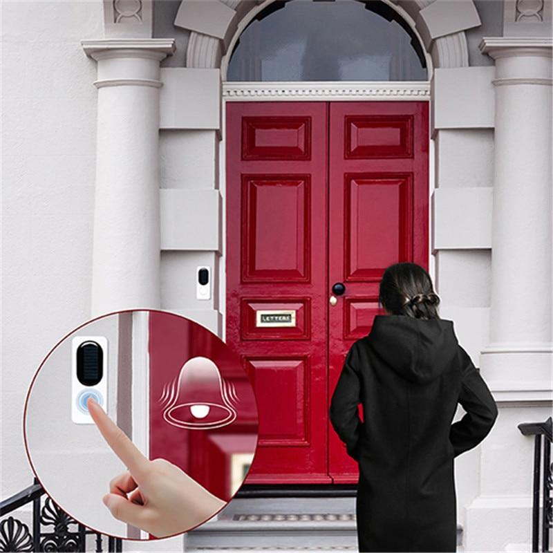 Forecum 433Mhz Wireless Solar Doorbell Remote Wireless Doorbell Waterproof Doorbell With Night Light Doorbell