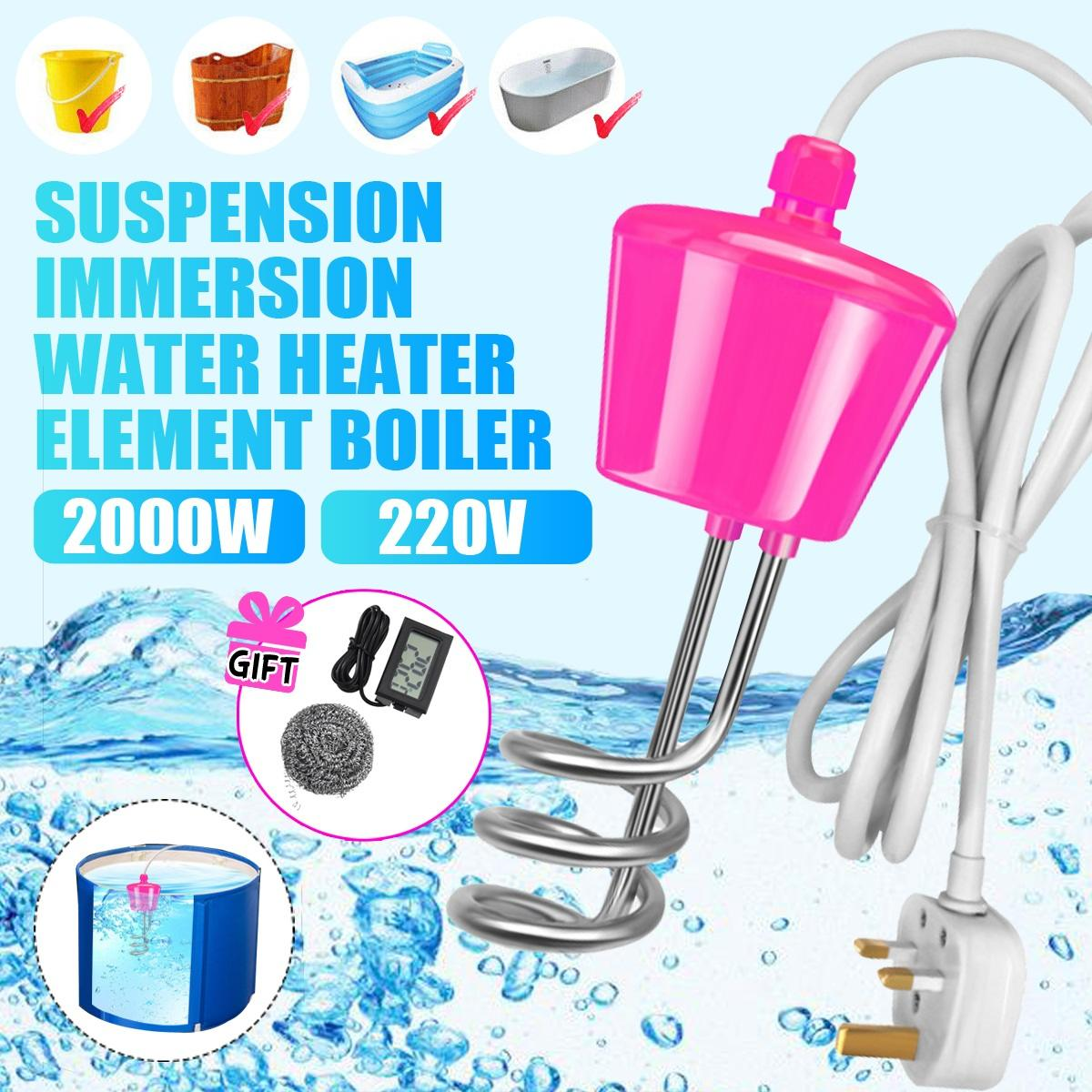 2000W Electric Floating Heater Boiler Water Heating Element Portable Immersion Suspension Bathroom Swimming Pool UK Plug