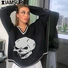 IAMSURE Y2K Pullover Schädel Pullover V Neck Strickwaren Lose Beiläufige Gestrickte Pull Oversize Frauen Streetwear Tops 2020 Herbst