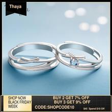 Thaya drążą cyrkonią obrączki ślubne S925 srebro wysokiej jakości Fantasy biżuteria pierścionek dla kobiet miłośników prezent