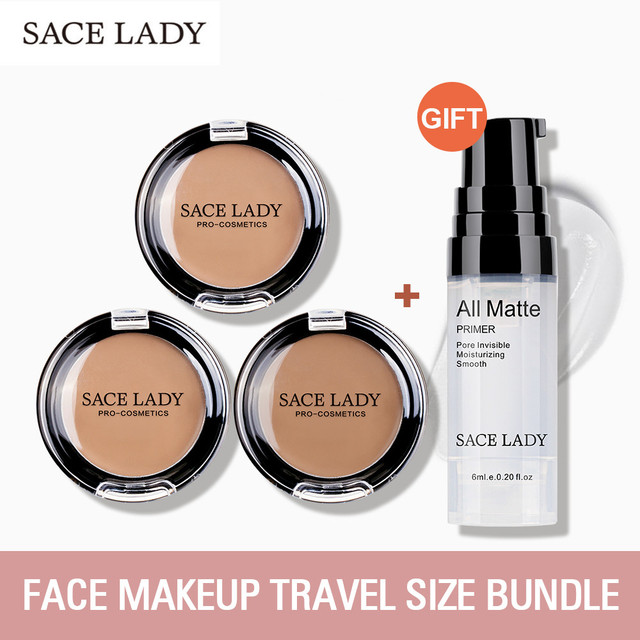 SACE LADY Full Cover Concealer Cream Face Contour Makeup Corrector + Face Base Primer Makeup Liquid Matte Make Up Primer
