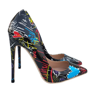 Black graffiti shoes high heels 12 cm 10 cm 8cm heel sexy pointed light shoes big size 43 party shoes