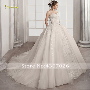 Image 4 - Loverxu מתוקה כדור שמלת חתונת שמלות אלגנטי Applique שרוולים תחרה עד הכלה שמלות משפט רכבת כלה שמלה בתוספת גודל