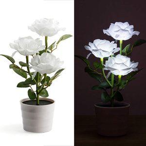 Image 2 - Planta Artificial Led rosa para balcón, jardín, jardín, Lámpara decorativa para mesita de noche, alimentada por energía Solar, maceta de flores para dormitorio blanca