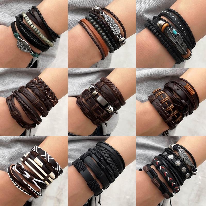 4PCS/SET Vintage Leaf Pendant Rice Beads Adjustable Rope Chain Bracelet Punk Braided Wrap Wristbands For Men Fashion Jewelry