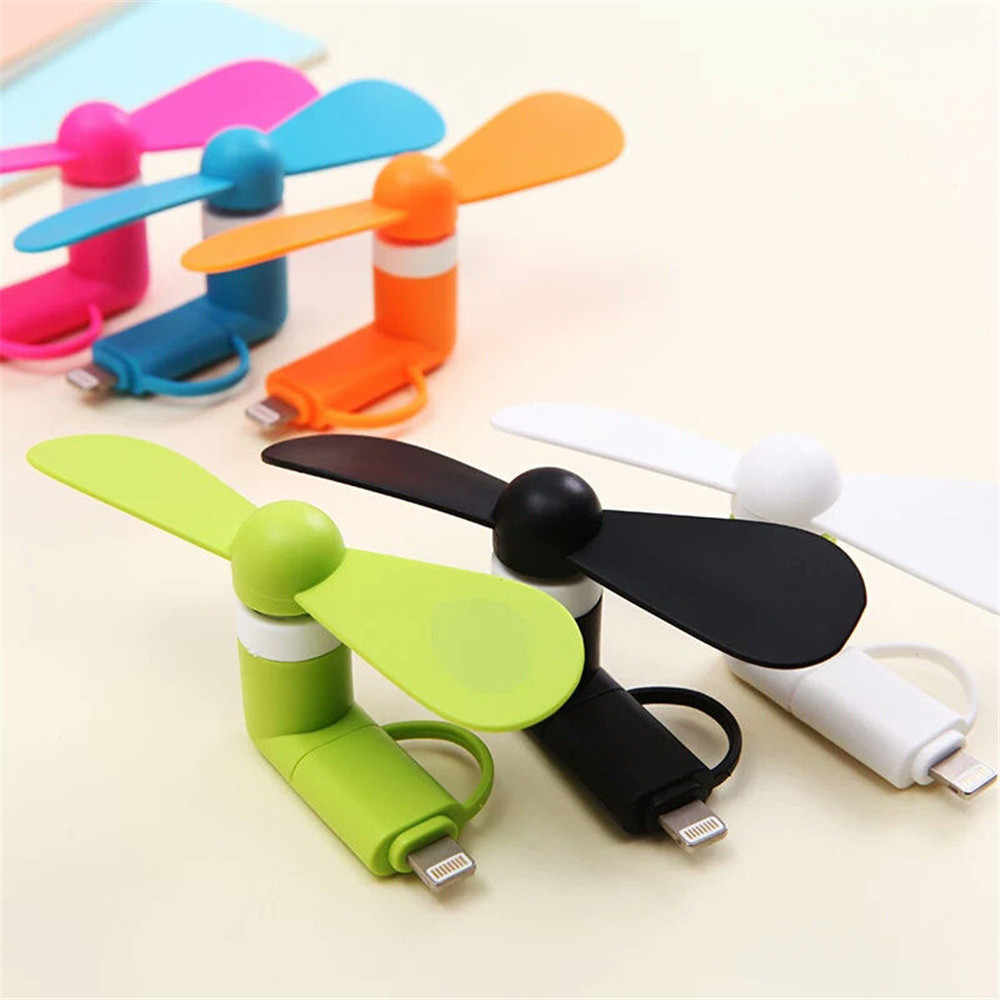 USB Plug Smartphone Mini Portable Olahraga Perjalanan Kipas Pendingin Widget Mini untuk iPhone dan Android 2 In 1