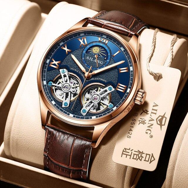 AILANG Original design watch men's double flywheel automatic mechanical watch fashion casual business men's clock Original 6