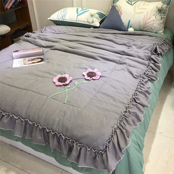 Summer Pink Thin Quilt Pure Cotton Three-dimensional Flowers Lotus Leaf Edge Washed Cotton Air-conditioning Quilt Princess Style