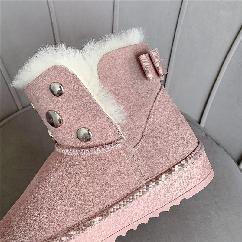 MORAZORA 2020 new hot sale snow boots comfortable flat heel round toe rivets winter shoes keep warm sweet pink ankle boots women 65