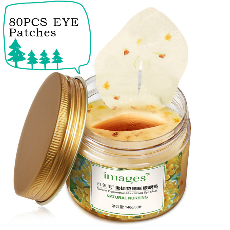 BIOAQUA 80 Pcs/ Bottle Gold Osmanthus Eye Mask Collagen Gel Whey Protein Face Care Sleep Patches Health Mascaras De Dormir TSLM1
