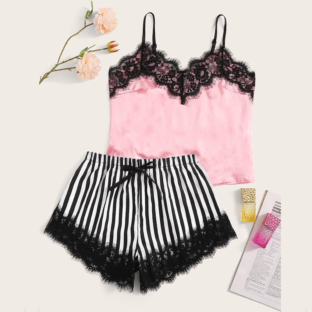 Sexy Lingerie Pajamas For Women Home Clothes Nightie V-neck Lace Satin Striped Camisole Sleepwear Bowknot Shorts Set #YJ