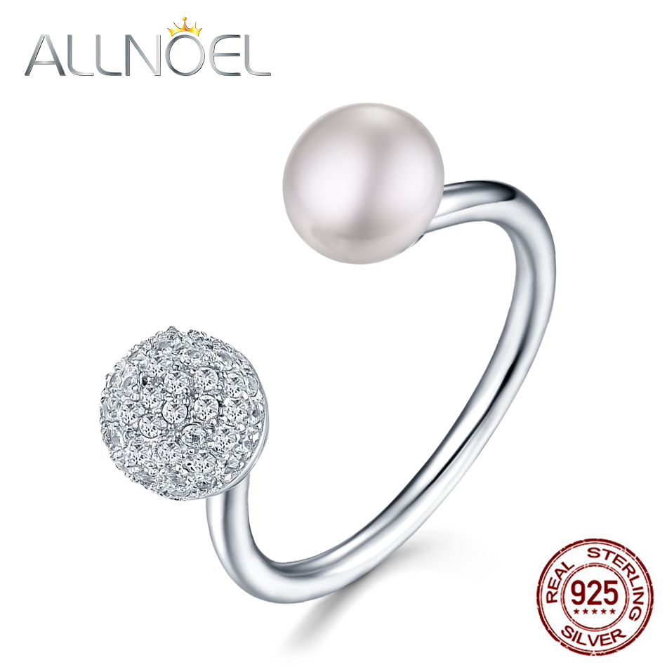 ALLNOEL Real Pure 925 Sterling Silver Rings For Women Natural Fleshwater Pearl Ring Open Design Platinum 20 Sec Gifts On March 8