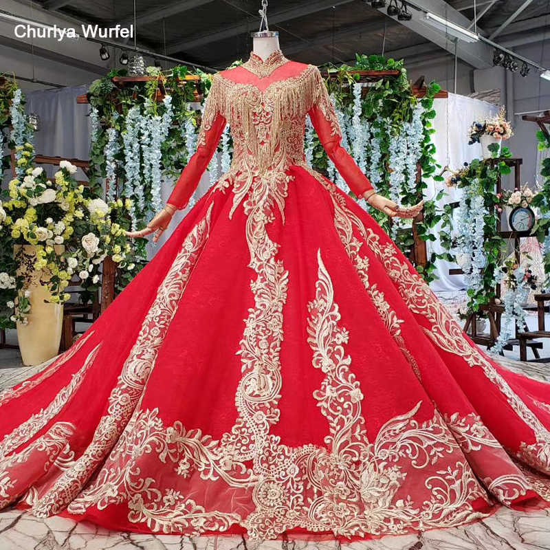 HTL814 muslim long evening dresses 2019 beading tassel high neck long sleeves red formal dress women elegant abendkleider lang