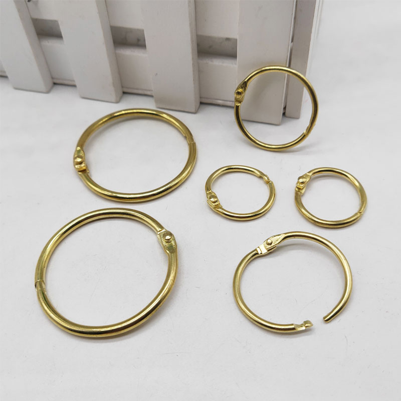 20Pcs Metal Binder Hinged Ring Gold Loose Leaf Opening Circle Book Hoops For Scrapbook Album Office Binding Ring On Notebook