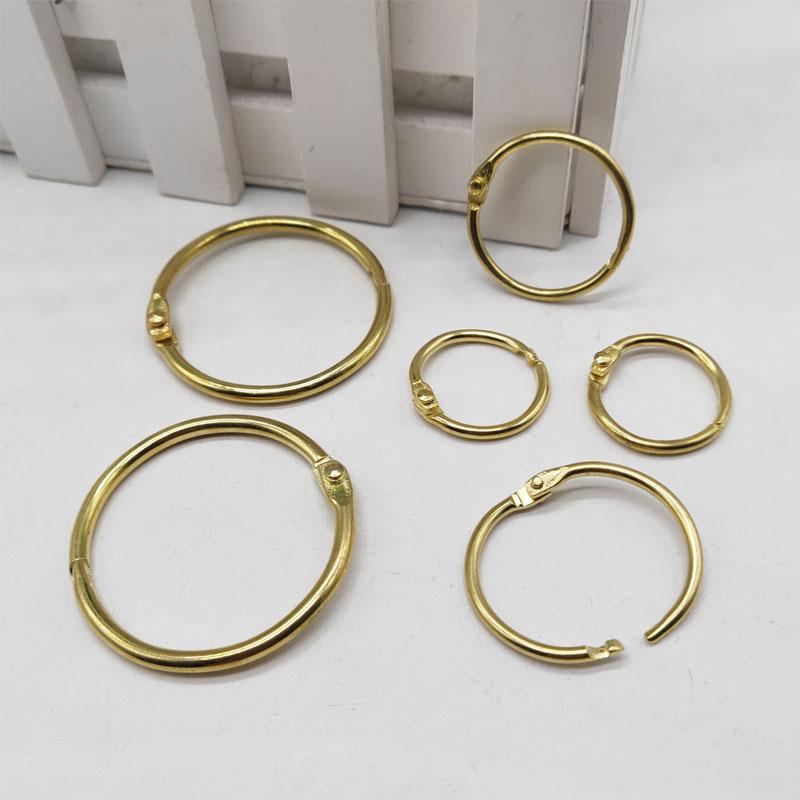 20Pcs Metal Binder Hinged Ring Gold Loose Leaf Opening Circle Book Hoops For Scrapbook Album Office Binding Ring On Notebook