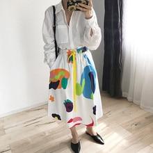 Women's Cotton Lace-up Skirt Cartoon Graffiti Print A-line Elastic Waist Spring Summer Midi Skirts New
