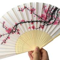 50 pcs/lot Plum flower design Elegant Folding Silk Hand Fan with Organza Gift bag Wedding Favor gift