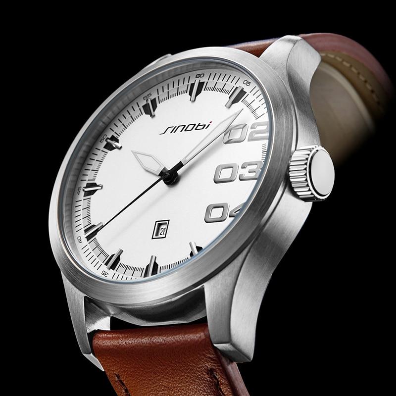 SINOBI Watches Mens Business Analogue Clock Fashion Stainless Steel Sports 50M Waterproof Luminous Watch Men Swim Relojes Hombre