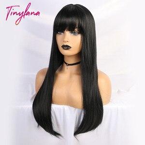 Image 4 - זעיר לנה שחור ארוך ישר פאה עם פוני שיער סינטטי פאות לנשים שחורות חום עמיד סיבי Cosplay תלבושות פאה