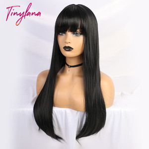 Image 4 - TINY LANA Black Long Straight Wig with Bangs Hair synthetic wigs for black women Heat Resistant Fiber Cosplay Costume Wig