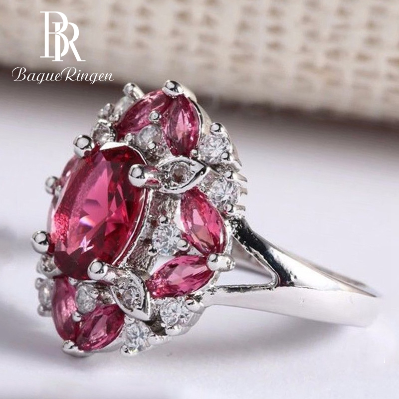 Bague Ringen Ruby Gemstone Rings for Women Genuine 925 Sterling Silver Jewelry Ring Romantic Female Wedding Engagement Gifts