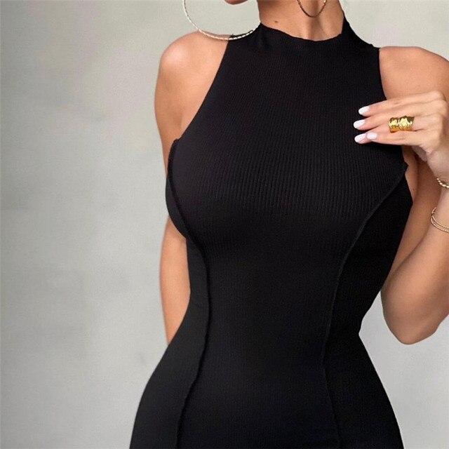 CNYISHE Sleeveless Casual Fashion Mini Dresses Skinny Summer O-neck Women Bodycon Neon Orange Dress Streetwear Vestidos Robes 3