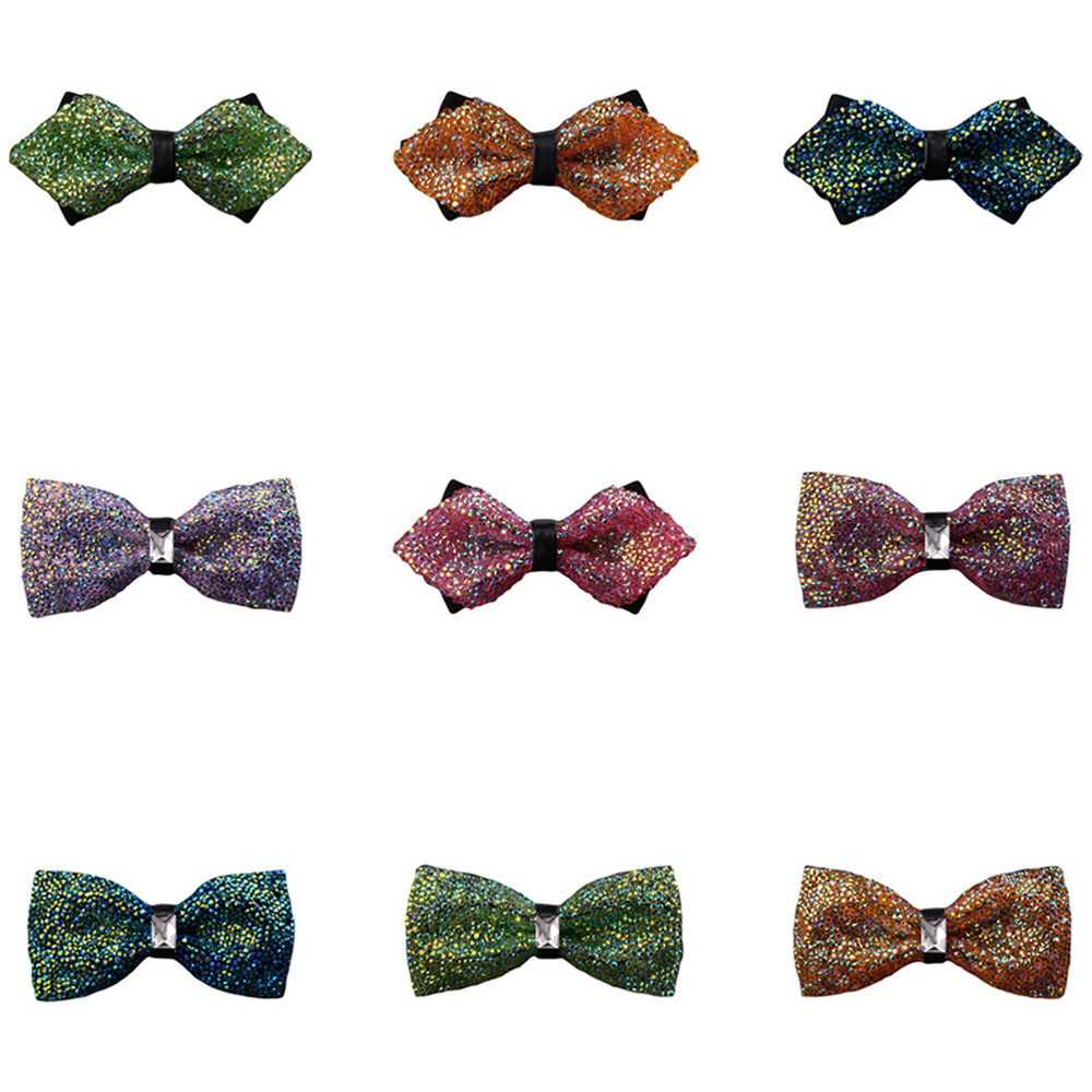 Men Noble Crystal Pre-tied Bowties Shiny Rhinestone Wedding Party Prom Bow Ties