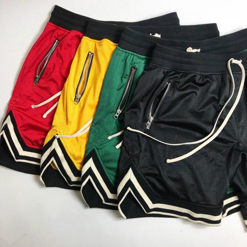 Bermuda de Malha Tela de Crotch Calças de Moletom para Homens Verão de 2020 Justin Foto Ventilada Masculina Estilo Jogger Casual Hip Hop Respirável