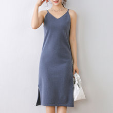Женское вязаное платье без рукавов длинное шерстяное джемперы