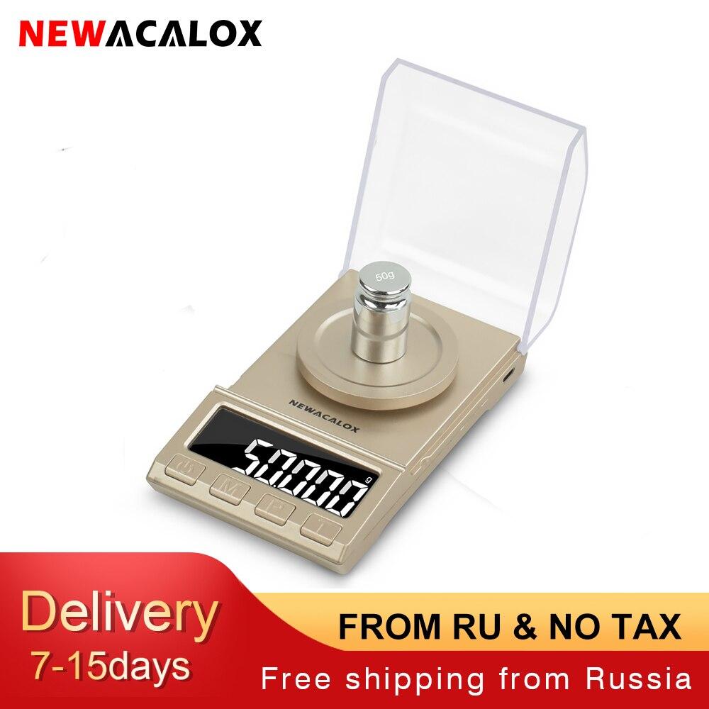 Весы NEWACALOX цифровые для ювелирных изделий, 50/0,001/100 г, USB