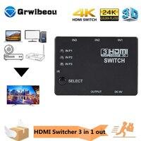 Interruptor automático de cubo divisor adaptador compatible con HDMI, 3x1, 3 en 1, 1080P, Control remoto, para XBOX360, PS3, proyector, HDTV
