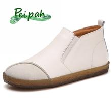 PEIPAHฤดูใบไม้ร่วงของแท้รองเท้าหนังผู้หญิงยางรองเท้าผู้หญิงข้อเท้ารองเท้าแบนSLIP ONเชลซีbotas Mujer
