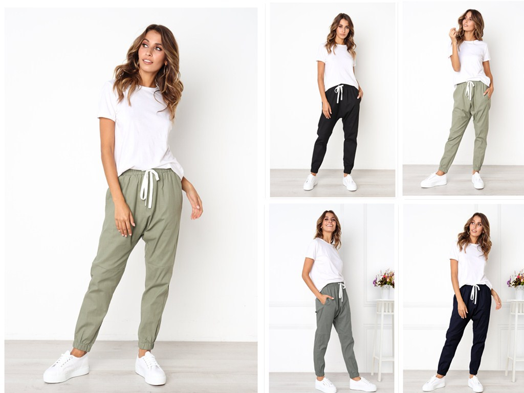 Currently Available! EBay AliExpress Wish Hot Selling WOMEN'S   Pants   Elastic Waist Lace-up Bib Overall Women's   Capri   Casual   Pants